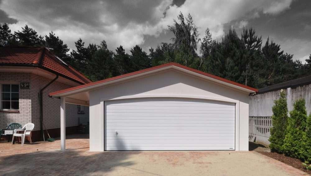 Garaż ocieplany Duo-Antica - 2 samochody + wiata, 8,0 x 6,0m