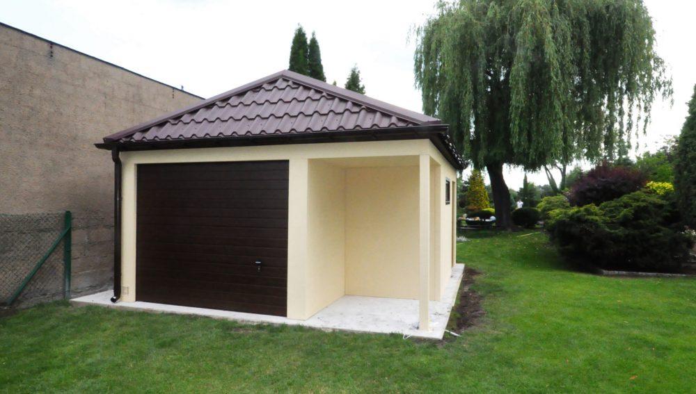 Garaż ocieplany Quatro-Classic - 1 samochód + wiata + przestrzeń gospodarcza 5,0 x.5,80 m