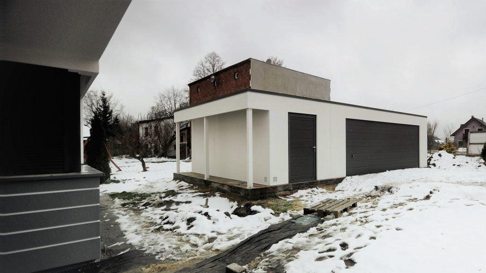 Garaż ocieplany Uno-Plus - 2 samochody + miejsce gospodarcze + wiata, 9,0m x 6,0m