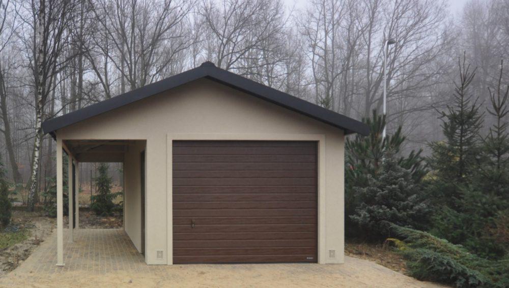 Garaż tynkowany Duo-Classic - 1 samochód + wiata, 5,0 x 5,80m