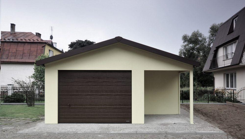 Garaż tynkowany Duo-Classic - 1 samochód + wiata, 6,0m x 5,70m