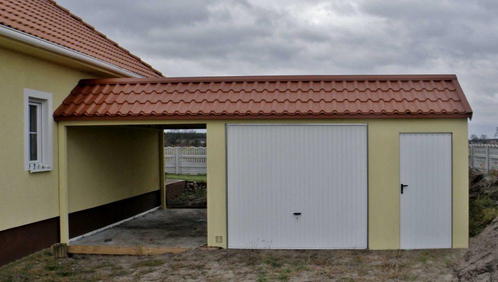 Garaż tynkowany Duo-Classic - samochód + pomieszczenie gospodarcza + wiata 9,0 x 6,0 m