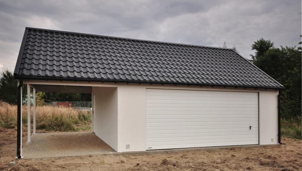 Garaż tynkowany Duo-Classic - 2 samochody, + wiata 9,0 x 6,0 m