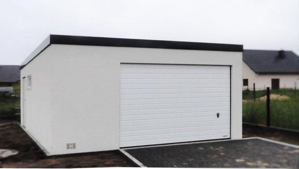 Garaż tynkowany Uno-Classic - 1 samochód + przestrzeń gospodarcza, 5,0 x 5,80m
